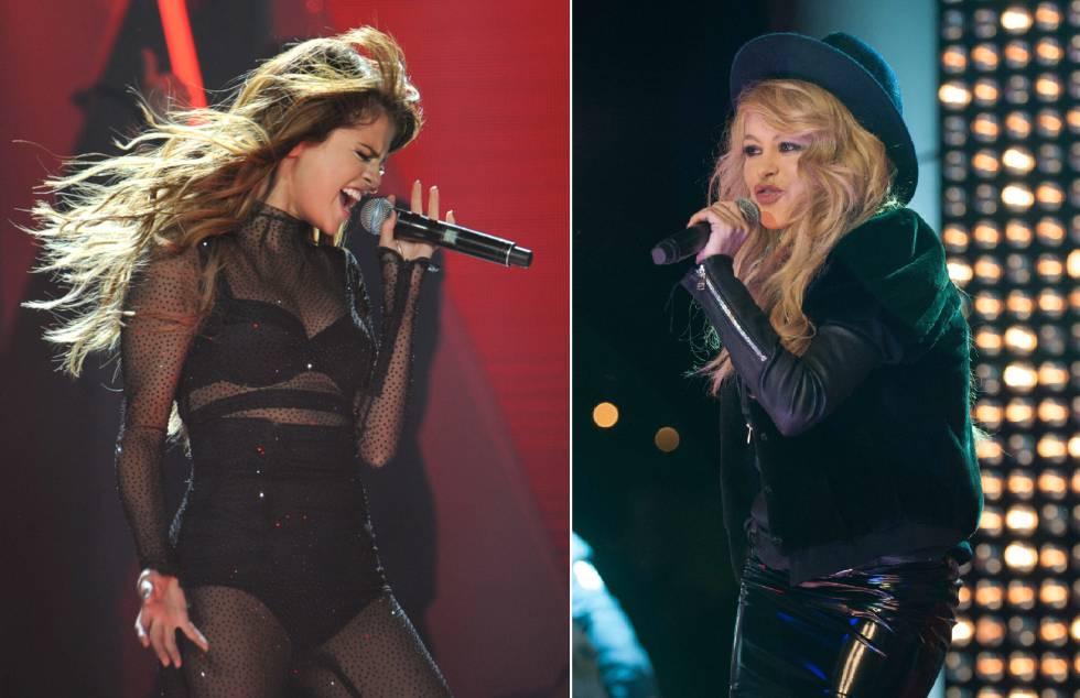 Las cantantes Selena Gomez y, a la derecha, Paulina Rubio.