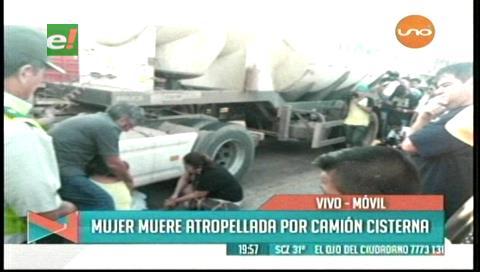 Mujer muere atropellada por un camión cisterna