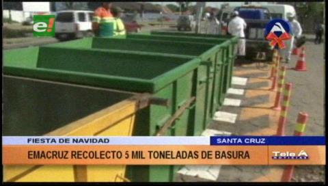 Emacruz recolectó 5 mil toneladas de basura en Navidad