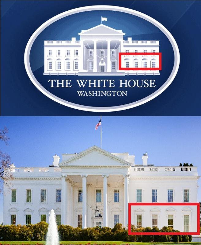 El logotipo oficial de la web de la Casa Blanca tiene un error en el lado derecho