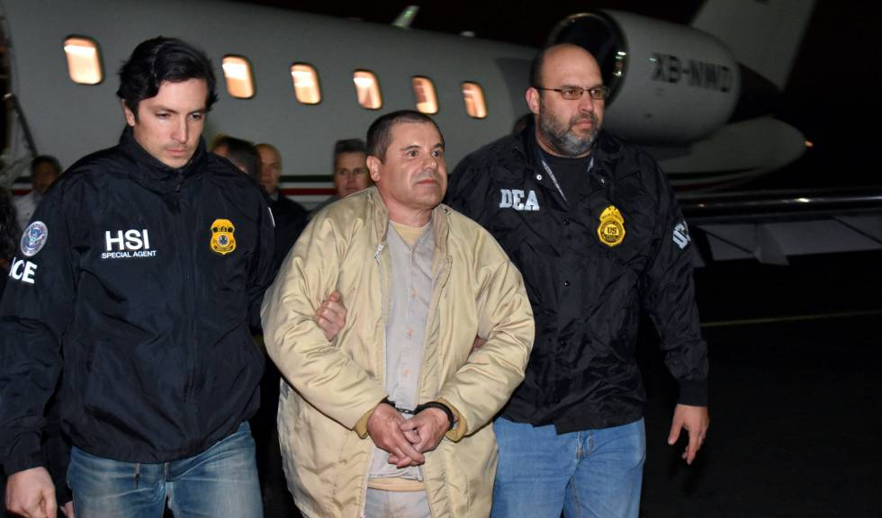 Joaquín 'El Chapo' Guzmán a su llegada a Nueva York