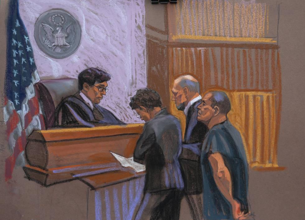 El Chapo Guzmán frente a un juez federal, en un dibujo.