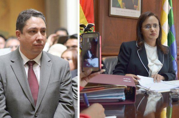 EL FLAMANTE POSESIONADO, MINISTRO DE JUSTICIA Y TRANSPARENCIA HÉCTOR ARCE Y LA SALIENTE LENNY VALDIVIA.