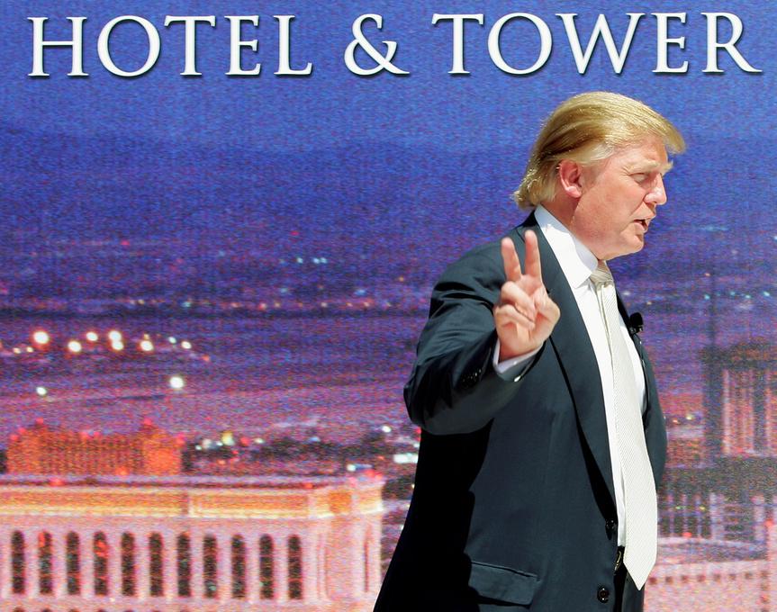 Donald Trump en la inauguración de uno de sus hoteles en Las Vegas en 2005.
