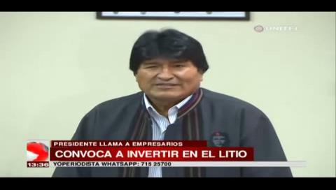 Evo Morales convoca a empresarios privados a invertir en el litio