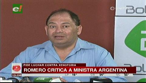 Romero pide a ministra argentina luchar contra la xenofobia