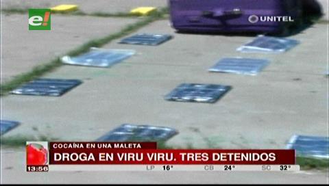 Droga en maleta de una mujer: Arrestan a un policía y a funcionario de Sabsa en Viru Viru