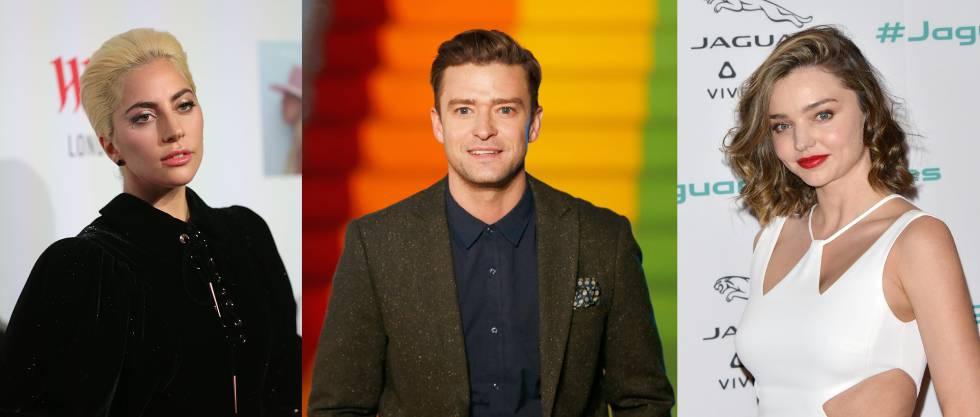 De izquierda a derecha: Lady Gaga, Justin Timberlake y Miranda Kerr.