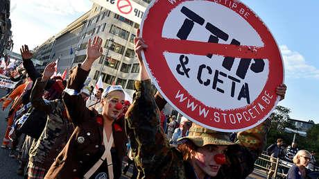 Manifestación contra el CETA y el TTIP en Bruselas / 20 de septiembre de 2016