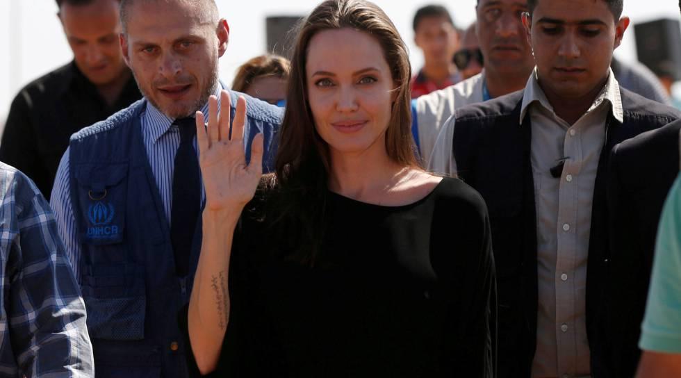 Angelina Jolie, en un campo de refugiados en Jordania.