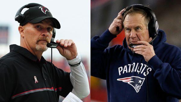 Dan Quinn y Bill Belichick, los entrenadores que buscan la gloria