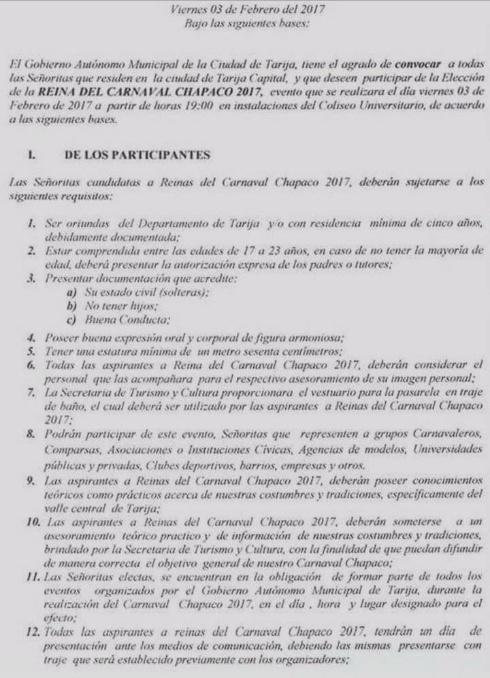 Requisitos para participar del certamen