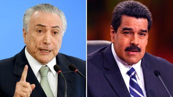 Michel Temer, presidente de Brasil, y Nicolás Maduro, su par venezolano
