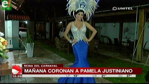 Mañana será coronada Pamela Justiniano como reina del carnaval cruceño 2017