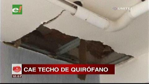 Lluvia daña parte del techo del quirófano del Hospital de Niños de Santa Cruz
