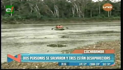 Tres personas desaparecen en el río Ichilo tras vuelco de canoa