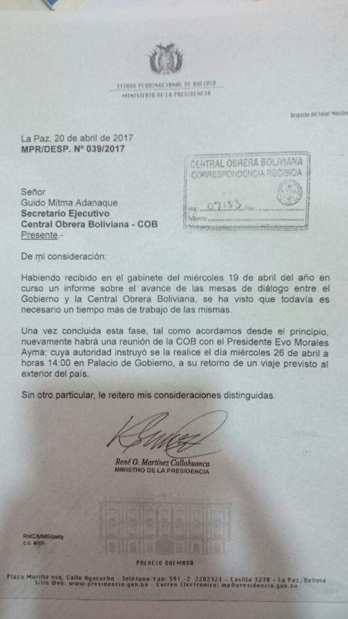 Carta de invitación al diálogo con el primer mandatario.