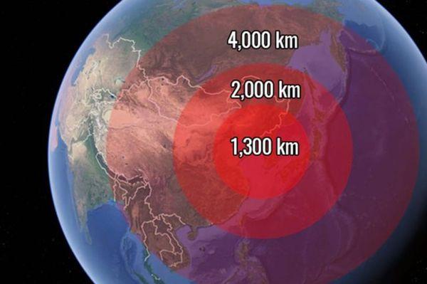 Tres de los misiles de largo alcance de Corea del Norte podrían penetrar cualquier objetivo dentro de este rango, según el Centro para la Estrategia y Estudios Internacionales