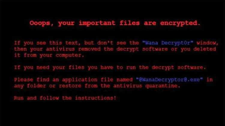 El mensaje que aparece en las computadoras de las víctimas del ransonware