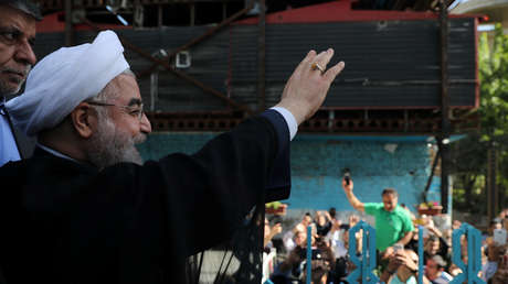 El presidente Hasan Rohaní durante las elecciones presidenciales en Teherán, Irán, 19 de mayo de2017