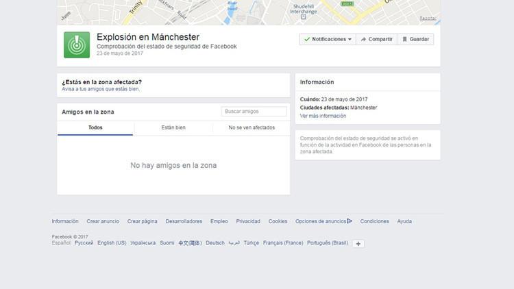 Facebook activa el servicio para confirmar el estado de seguridad tras el ataque en Manchester