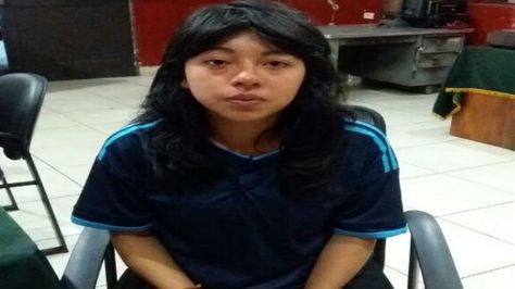 Xiomi M. L., en dependencias de la Policía del Perú.