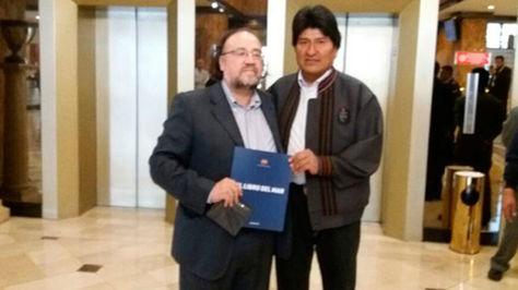 Esteban Silva y el presidente Evo Morales