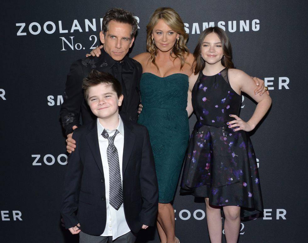 Ben Stiller con su familia en el estreno de