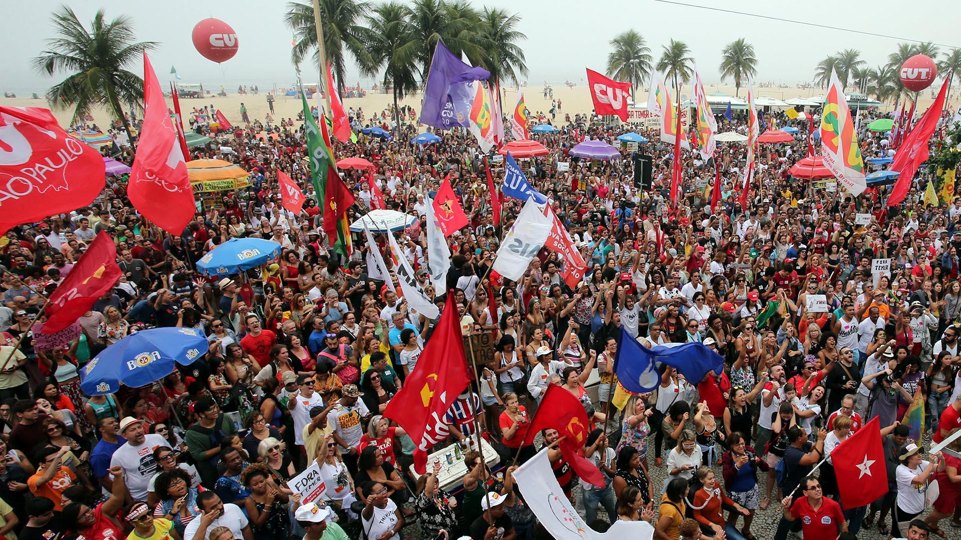 La protesta estuvo concentrada en las playas de Copacabana