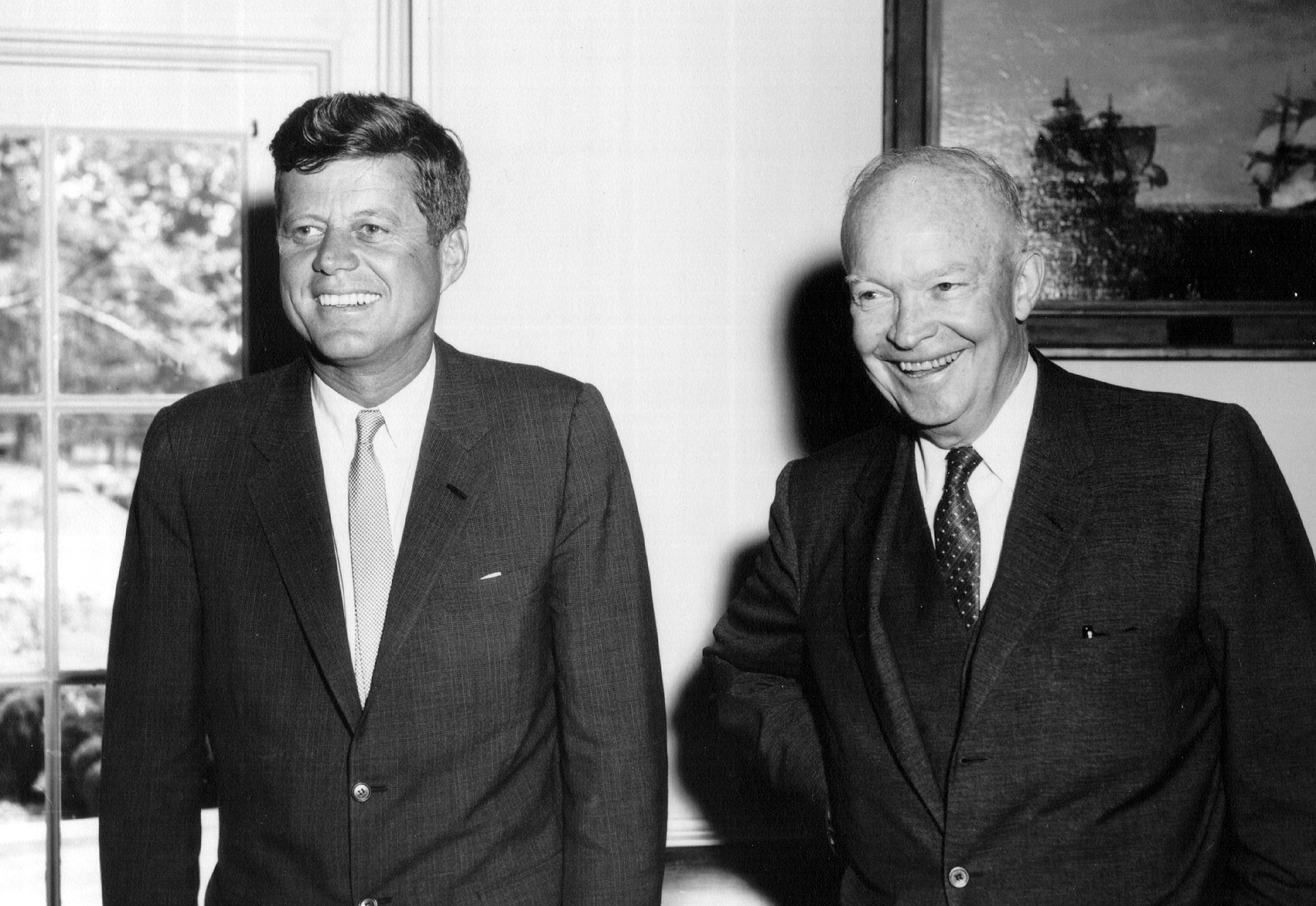 Kennedy junto al ex presidente Dwight Eisenhower