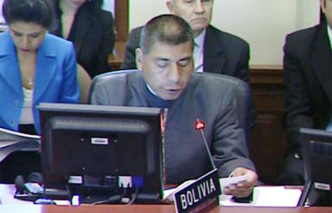 Canciller Fernando Huanacuni interviene en el XLVII periodo ordinario de sesiones de la Asamblea General de la OEA.