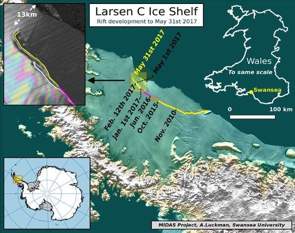 El gráfico hecho por los científicos muestra cómo avanzó en los últimos años la grieta que finalmente quebrará la estructura de hielo. Tiene el tamaño de Shangai o del estado norteamericano de Delaware (Project MIDAS)
