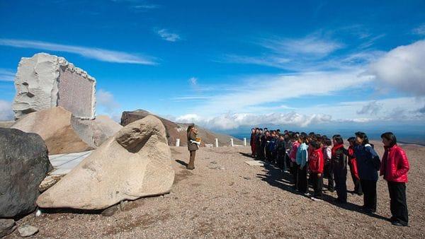El monte Paektu está ubicado en la frontera entre Corea del Norte y China