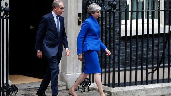 Así salió May de su residencia para dirigirse al palacio real(AP)