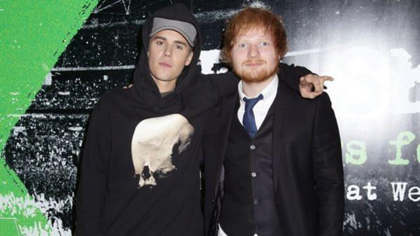 (AP) Justin Bieber y Ed Sheeran