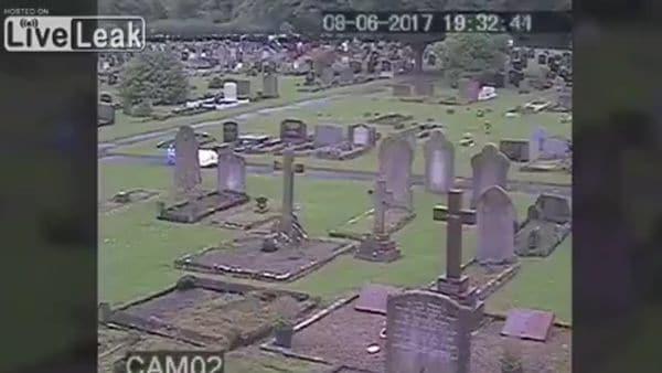 El cementerio, antes de la irrupción de las vacas