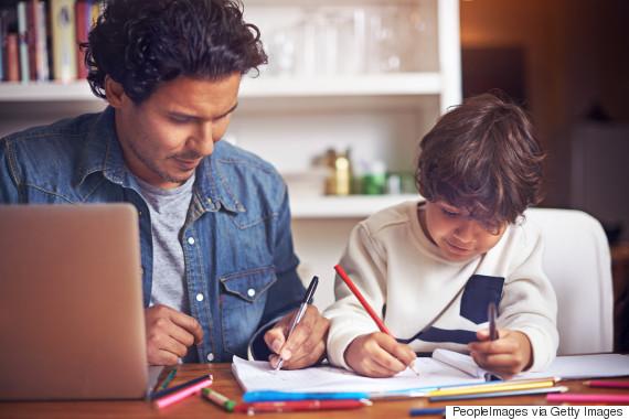 parent doing homework