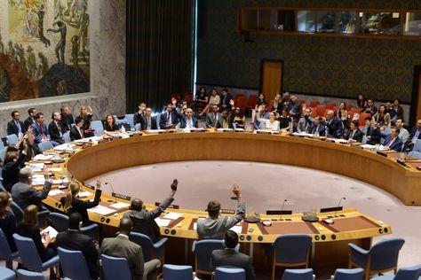 La sesión Consejo de Seguridad de la ONU que aprobó por unanimidad la resolución sobre minas antipersonales de Bolivia.
