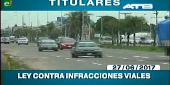 Video titulares de noticias de TV – Bolivia, mediodía del martes 27 de junio de 2017