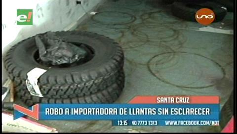 Delincuentes roban una importadora de llantas en Santa Cruz