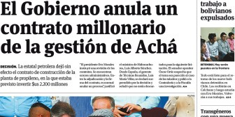 Portadas de periódicos de Bolivia del miércoles 28 de junio de 2017
