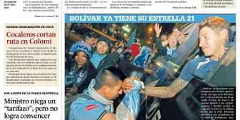 Portadas de periódicos de Bolivia del lunes 26 de junio de 2017