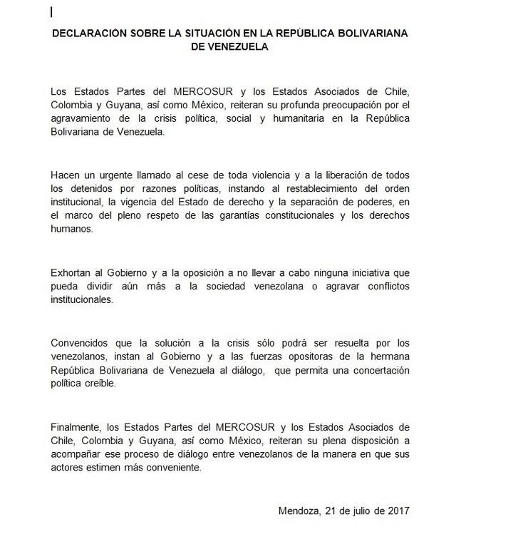 El Mercosur pidió que cese la violencia pero no expulsó a Venezuela