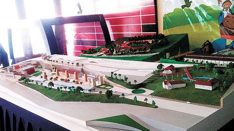 Vista general de la maqueta del proyecto del Parque de las Culturas y Pachamama.