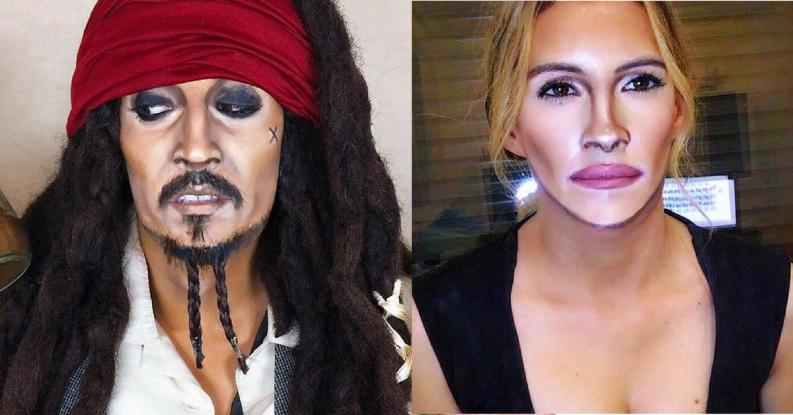 Marina Mamic se maquilla como Jack Sparrow y Julia Roberts