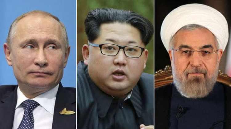 Vladimir Putin, Kim Jong-un y Hassan Rohani