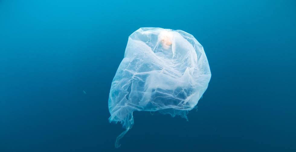 Una bolsa de plástico flota en las aguas de Gorontalo, Indonesia.