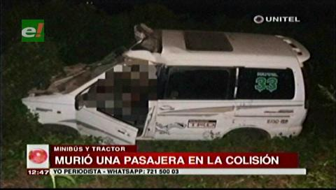 Colisión entre una vagoneta y un tractor deja un muerto