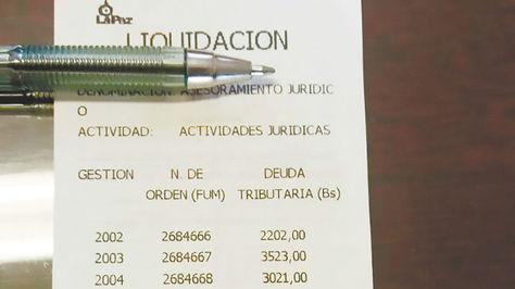 Recibo emitido por el Gobierno Autónomo Municipal de La Paz.