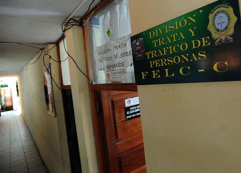 Oficinas de la División de Trata y Tráfico de Personas en la Fuerza Especial de Lucha Contra el Crimen (FELCC) de La Paz. Foto: José Lavayen